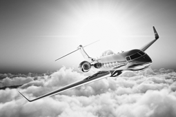 business jet in the sky